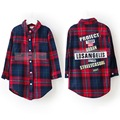 2016 New Arrival Girls Plaid Letter Shirts Kids Korean Style Casual Cotton Blouses Children Fashion Brand Clothes , LC257