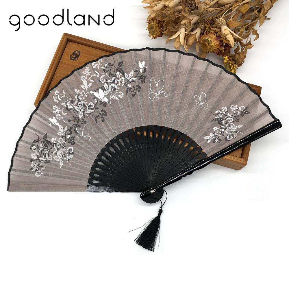 Free Shipping 10pcs Linen Bamboo Chinese Blossom Flower Pocket Fan Carved Folding Fans Craft Supplies Wedding