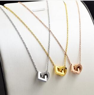 Stainless steel Circle square pendant necklace women collares 2019, trending 3 color choker necklaces Christmas gifts jewelry