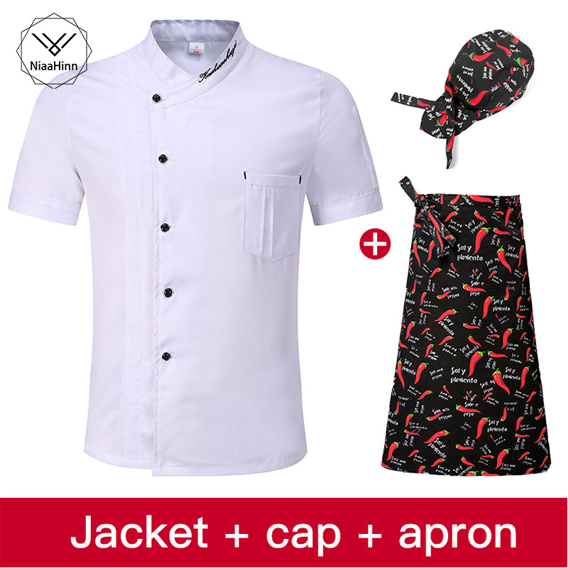 White Chef Uniform Single-breasted Breathable Wear-resistant Hotel Uniform High-quality Overalls Jacket+beauty Apron+chef Hat