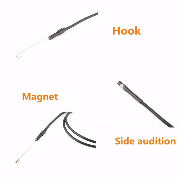 8/7/5.5mm Lens Android Endoscope Camera 1M 2M 5M Semi Rigid Hard Cable Led Light Borescope Inspect Camera For PC Android Phone