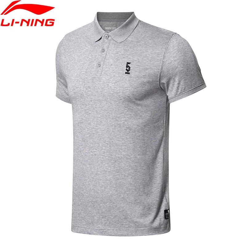 Li Ning herren Basketball T-shirt SCHLECHTE FÜNF Atmungs 64% Baumwolle 36% Polyester Futter Regular Fit Sport POLO APLN049 MTS2764