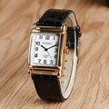 Trendy Elegant Casual Rectangle Wrist Watch Black Leather Strap New arrival Simple Student Quartz Ladies Women Clock Gift