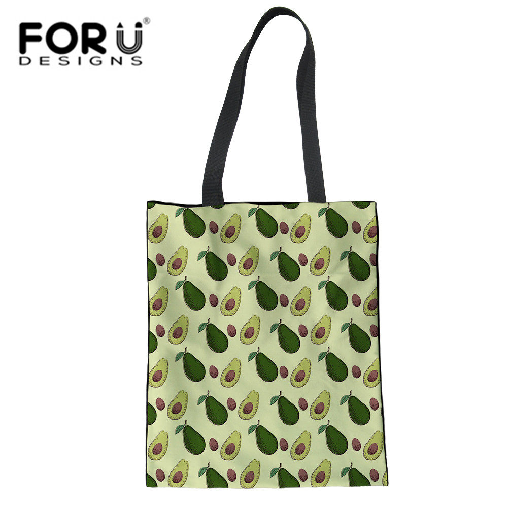 FORUDESIGNS Avocado Fruit Pattern Eco Reusable Shopping Bags Cloth Fabric Grocery Packing Hight Simple Design Healthy Handbag
