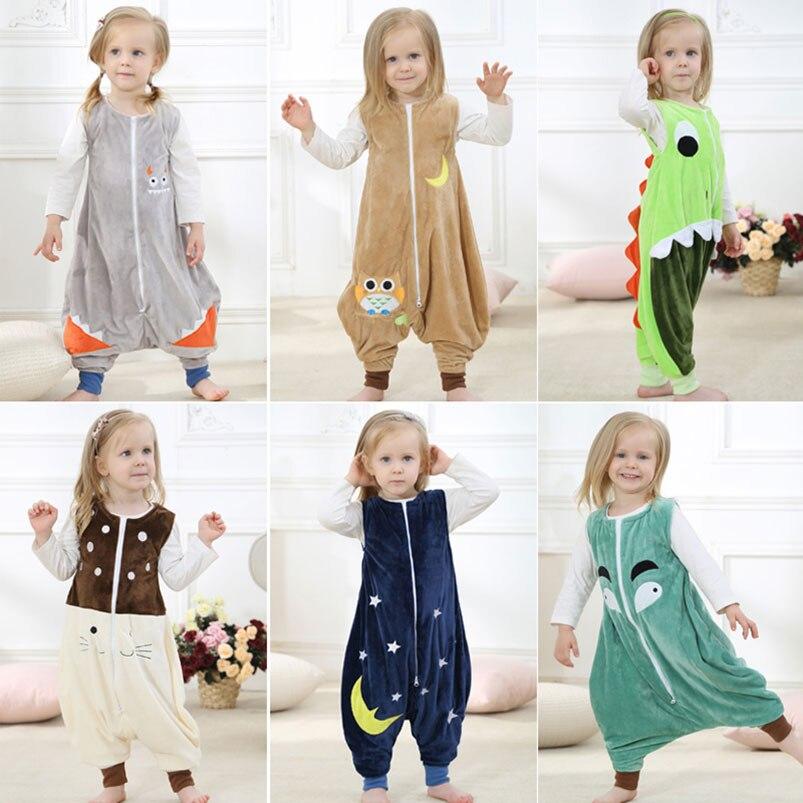 0-6 Jahre Baby Kinder Strampler Overall Satz Schlafsack Anti-kick Pyjamas Flanell Schlaf Kleidung Tier Handy Zubehör