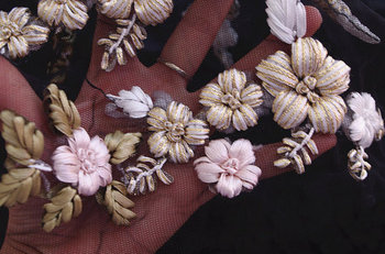 3D handmade embroidery appliques, ribbon flowers embroidery appliques, 10 lots фото