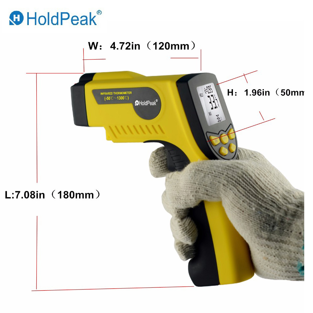 HoldPeak HP-920 Measurement Instruments Digital Thermometer Handheld Industrial Infrared Thermometers LCD Display Thermometer minipa et 988 et988 lcd handheld digital thermometer multimeter