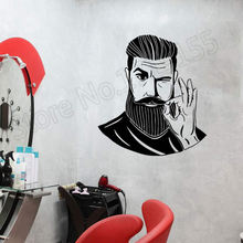 Bearded Man Barbershop Hairstyle Hair Salon Wall Stickers Vinyl Hairdresser Decal Haircut Spa Interior Decor DIY ZW363