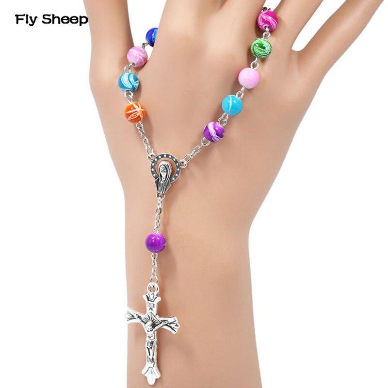 Multi coloured rhinestones Luxury Rosary Bracelet Catholic religious gift