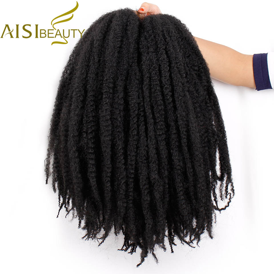 18 inch Ombre Marley Braids Hair Crochet Afro Kinky Synthetic Braiding Hair Crochet Braids Hair Extensions Bulk Black Brown(China)