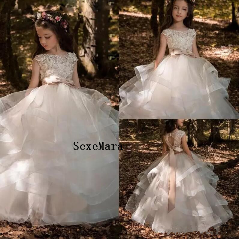 e5cbff77f35 Arabic 2018 Floral Lace Flower Girl Dresses Ball Gowns Child Pageant Dresses  Long Train Beautiful Little