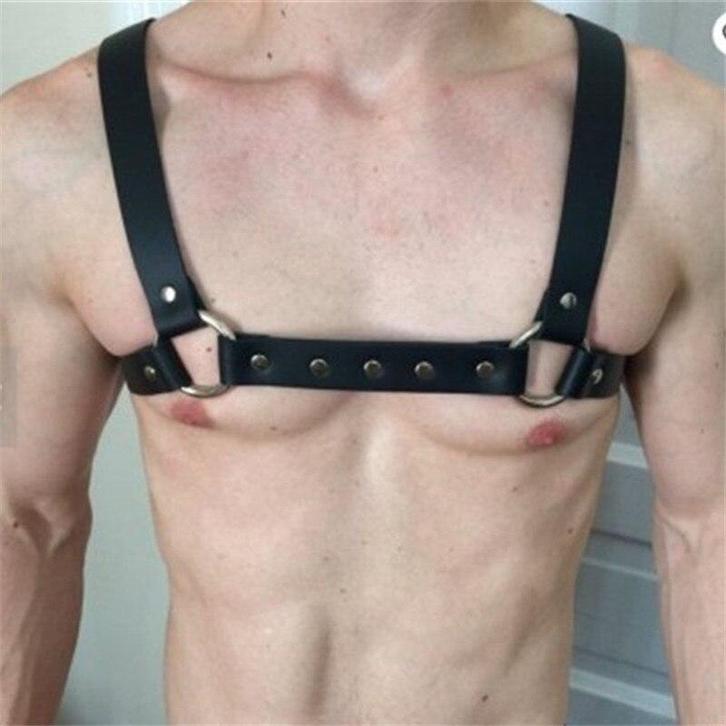 MSemis Harness Men Bondage Lingerie Gay Bdsm Men Bondage Leather Harness Men Gay Gothic Body Chest Half Harness Belt Costume