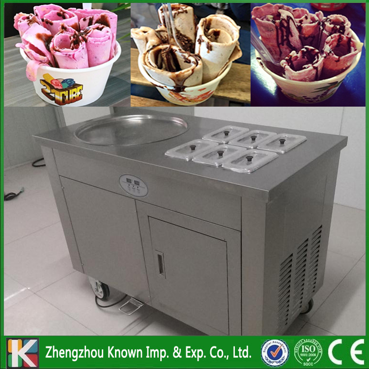 45 Cm Single Round Ice Pan With 6 Topping Tanks Of Fried Ice Cream Roll Machine With Refrigerated Cabinet (free Shipping By Sea)
