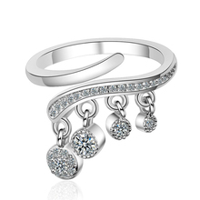 KOFSAC Latest Popular 925 Silver Rings For Women Jewelry Shiny Zircon A Row of Circles Ring Girlfriend Gifts Party Accessories