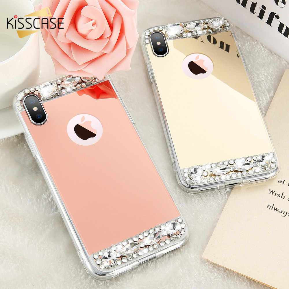 KISSCASE teléfono caso para el iPhone 6s 6 7 más X conchas acrílico Jewelled Soft TPU casos para el iPhone 5S 5 SE X10 6S Cubierta Capa fundas For iphone 7 funda For iphone x fundas For iphone 6 funda For iphone 6s