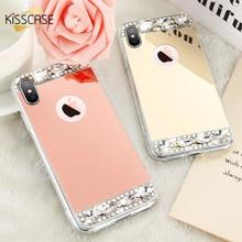 KISSCASE Telefonu iphone için kılıf 6 S 6 7 Artı X Kabukları Akrilik Ayna Mücevherli Yumuşak TPU iphone kılıfları 5 S 5 SE X 10 ...