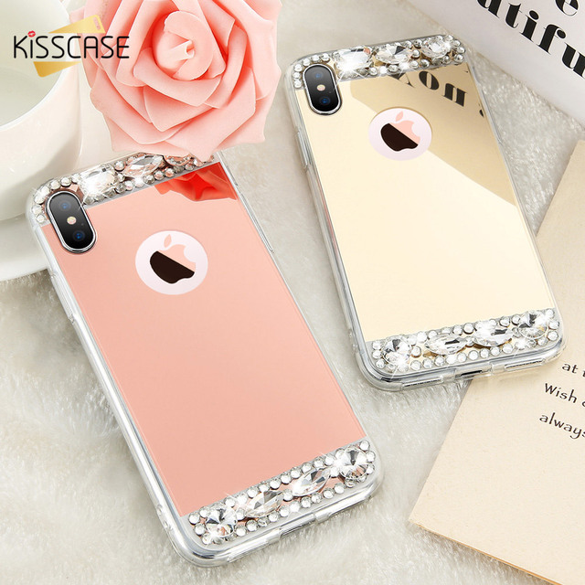 KISSCASE Phone Case For iPhone 6S 6 7 Plus X Shells Acrylic Mirror Jewelled Soft TPU Cases For iPhone 5S 5 SE X 10 6S Cover Capa