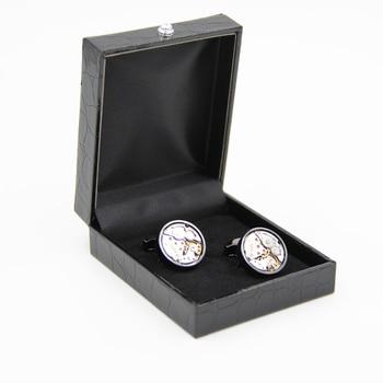 Black Leather Cufflinks Box 50PCS/lot  High Quality Imitation alligator skin Cuff Jewelry Carrying Case(excluding cufflinks)