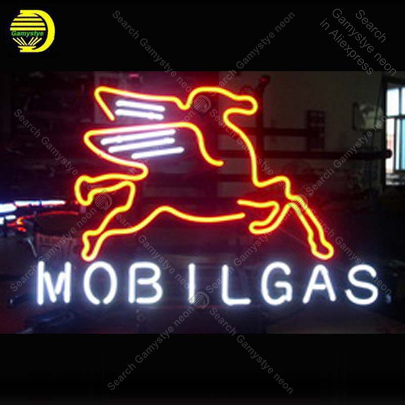 US $95 83 26% OFF|Mobilgas Oil Logo NEON LIGHT SIGN Neon Sign lamp Decorate  Windows GLASS Tube BEER PUB Store Display Handcraft Iconic Sign light-in