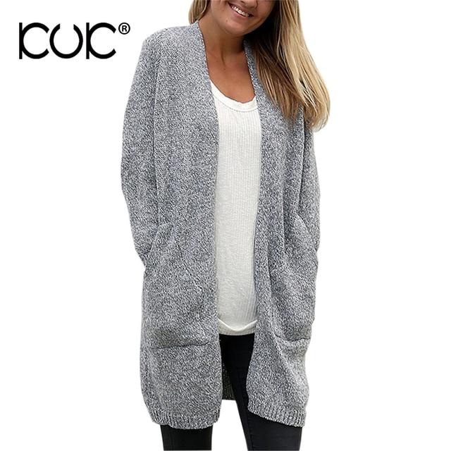 Kuk Oversized Sweater Cardigan Women Long Pocket Coat Outerwear Feminino Ladies  Jumper Knitwear Autumn Winter Sueter Mujer A759 70e312ffb