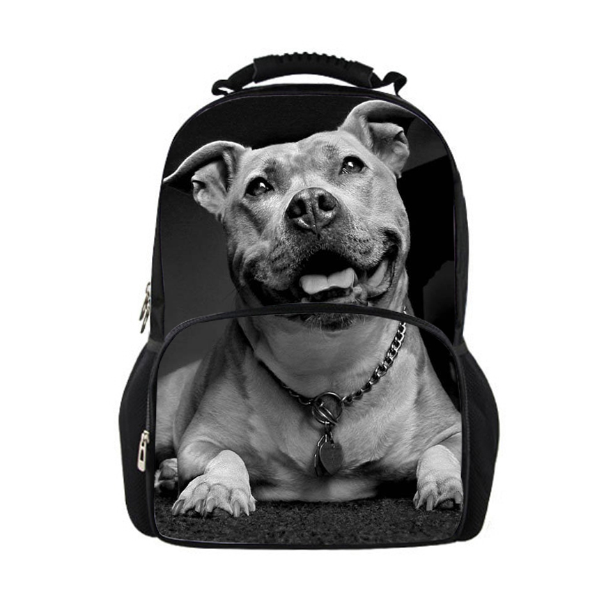 Customized Men Backpack Homme Fashion Backpacks My Cool Pit Bull Dog Printing Backpack for College Boys Cool Male Back Pack
