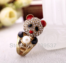 New Design 2017 New Arrival High Quality Lovely Panda Crystal Ring For Women Jewelry