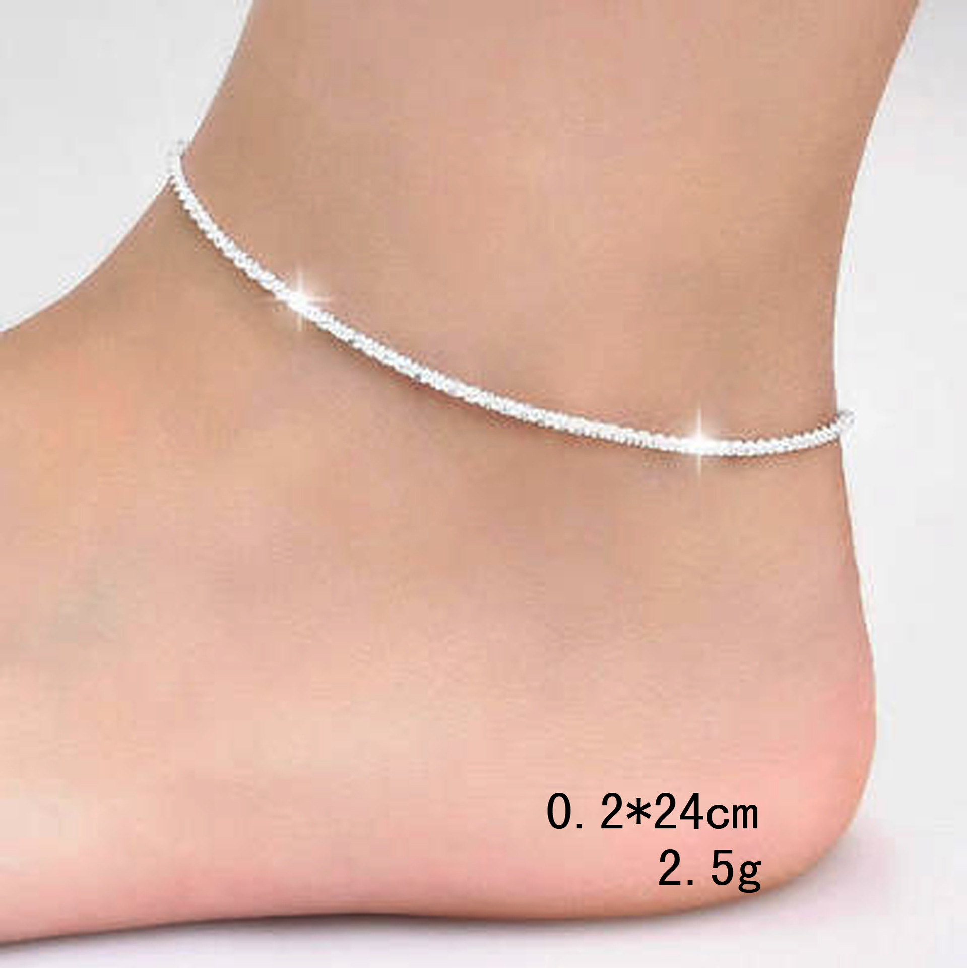 Thin 925 stamped silver plated Shiny Chains Anklet For Women Girls Friend Foot Jewelry Leg Bracelet Barefoot Tobillera de Prata 2