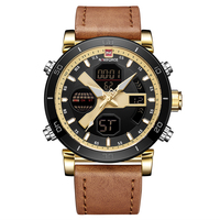 NAVIFORCE 9132 Quartz Wristwatch Mens Dual Time Analog Digital Watch Men 3ATM Waterproof Leather Strap Clock Backlight Watches