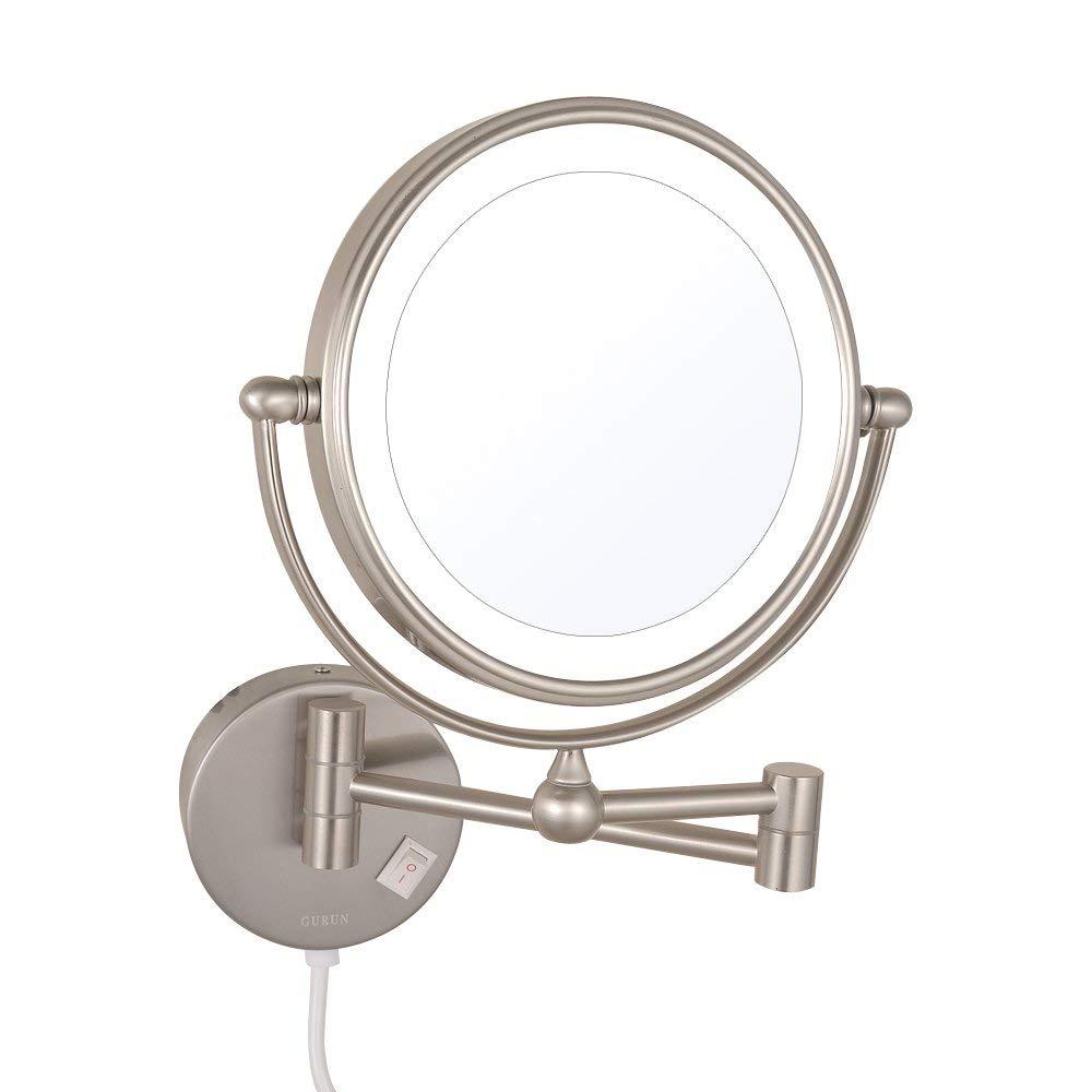 Gurun led iluminado espelhos de maquiagem dupla face com 7x ampliação giratória estendido dobrável barbear espelhos com luzes níquel