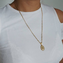 Gold Medallion Virgin Mary Necklace, Unisex Necklace, Coin Necklace, Long Layering Necklace(China)