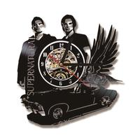 3D Black Hollow Supernatural Theme Record Clock Flying Car Shape Vinyl Wall Clock Creative and Antique Style Hanging Clock