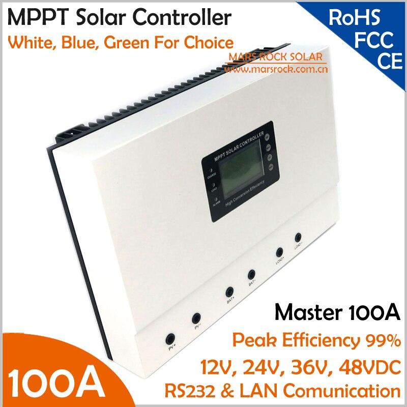 b6a5018b282 Beautiful White 99% Max eficiência 12V24V 100A 36 V 48 V auto sensing alta  intelligent MPPT Controlador de Carga Solar com RS232 LAN