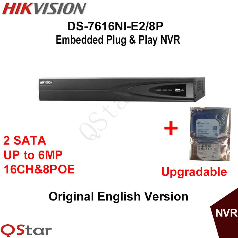 Hikvision Original English Version DS-7616NI-E2/8P With 8PoE 16CH Network Video Recorder NVR For IP Camera Build-in HDD 1/2/3/4T hik ds 7716ni i4 16p original updatable english version 16ch nvr 16poe interface ip camera network video 4sata hdd