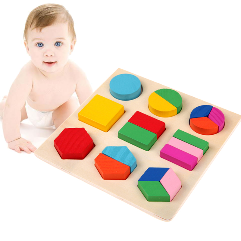 Montessori Toys Educational Wooden Toys For Children Early Learning 3D Puzzle Colorful Geometry Shape Matching Games