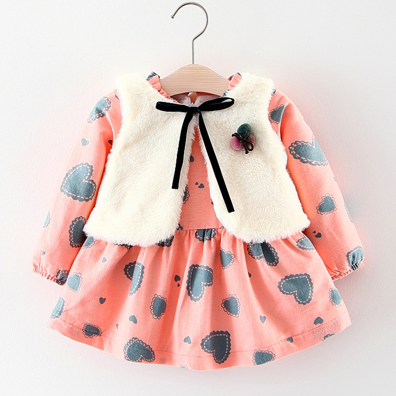 Baby Clothes Sets Winter New Plus velvet thickening Long-sleeved Dresses + Fur Vest 2pcs Suit Baby Girls Clothes Kids Clothing