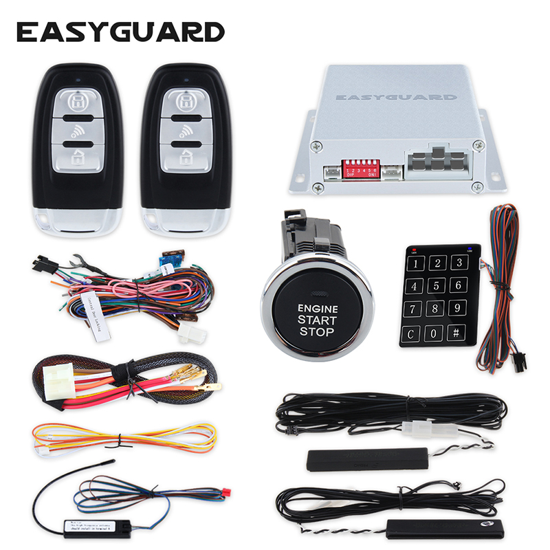 EASYGUARD quality rolling code PKE car alarm kit with remote engine start push button start Touch password entry DC12V car alarm system pke smart key touch password entry power saving remote engine start starter push start stop button dc12v