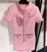 Зимнее твидовое Платье женское элегантное розовое платье с коротким рукавом для леди 2019 весеннее новое женское мини платье