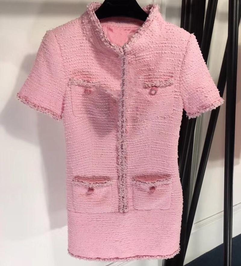 Winter Tweed Dress Women Elegant Short Sleeve Pink Dress for Lady 2019 Spring New Women Mini Dress