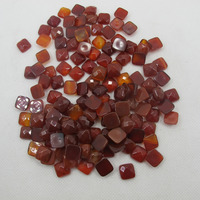 Natural Red Carnelian Agat e 10mm Faceted Square Gem stone Jewelry Cabochon Stone Ring Face 20pcs/lot