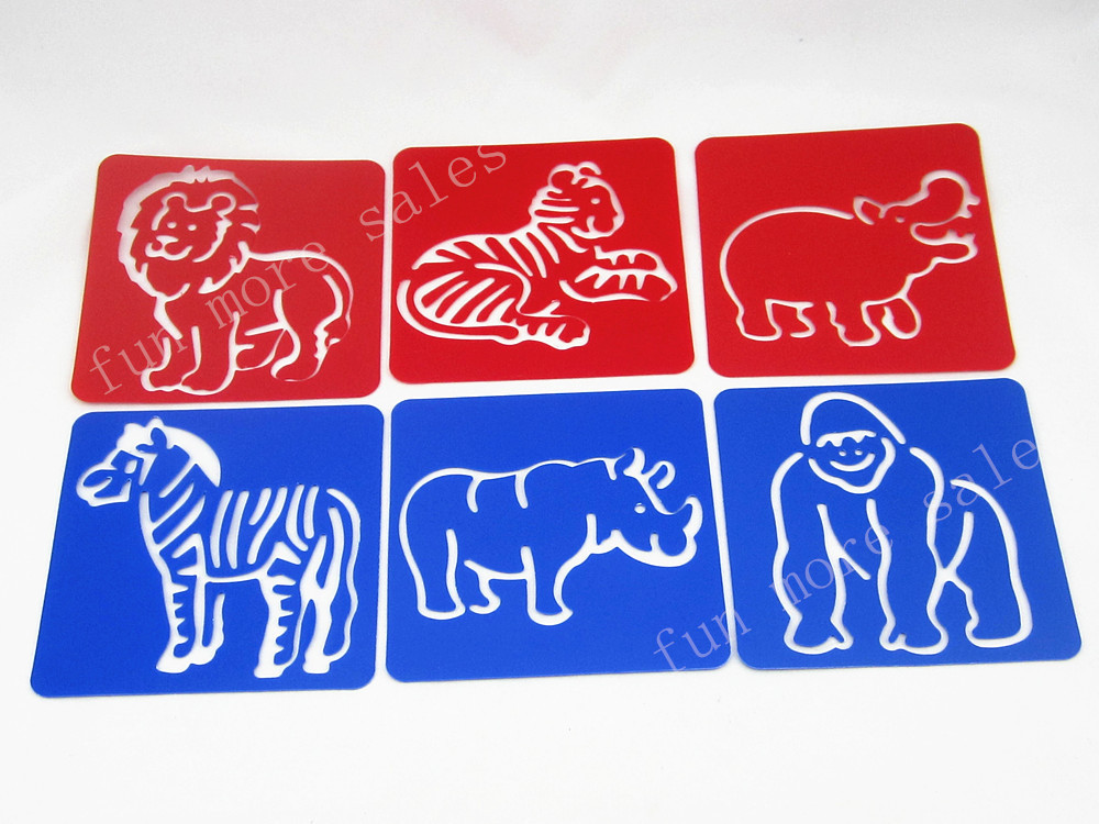 12Designs/set Stencils for painting Zoo animal Kids drawing templates Plastic boards baby hot toys for children 128x128x0.6mm