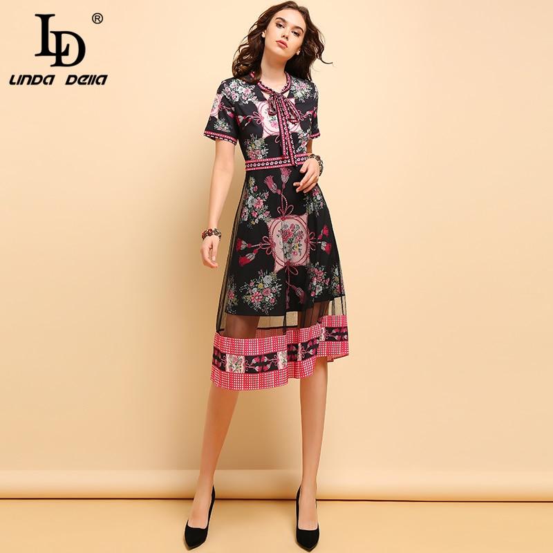 LD LINDA DELLA Lente Zomer Mode Jurk vrouwen Vintage Korte Mouw Bow Tie Bloemen Gedrukt Mesh Elegante A lijn Midi jurken-in Jurken van Dames Kleding op  Groep 1