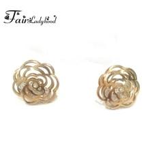 04866dce9a1e Fairladyhood diseño original Rosa oro color titanio acero Pendientes de  broche Flor de Camelia clásico Pendientes para los regal.