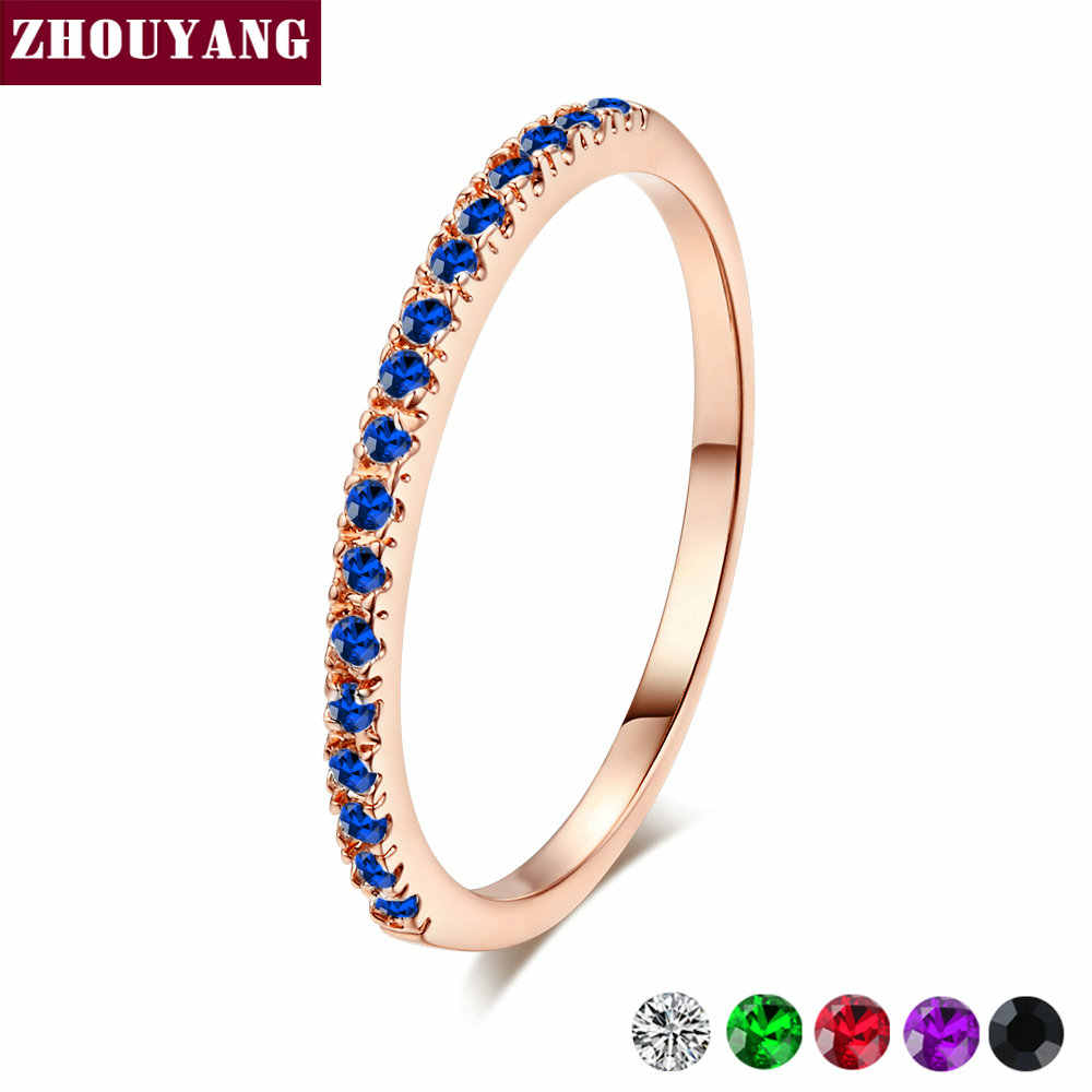 Zhouyang Cincin Pernikahan untuk Wanita Pria Ringkas Klasik Mini Multiwarna Cubic Zirkonia Warna Rose Gold Hadiah Fashion Perhiasan R251
