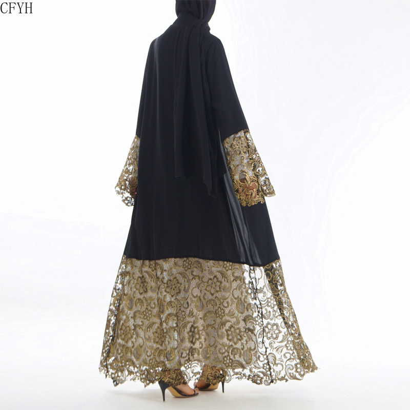 Lace Gold Stamping Printing Muslim Dress Women Dubai Abaya Black Robe Long Sleeve Cardigan Kaftan Elegant Design Maxi Dresses Cl
