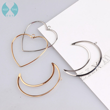 Ritoule Copper simple DIY, large Love Moon Pendant, Korean earrings, handmade jewelry, accessories, materials