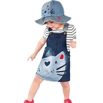 a6b0f6a83 2018 Primavera Verano vestido de bebé niña gato patrón de vaquero niños  niñas vestido de Niños de dibujos animados vestido de fiesta 3- 9 Y