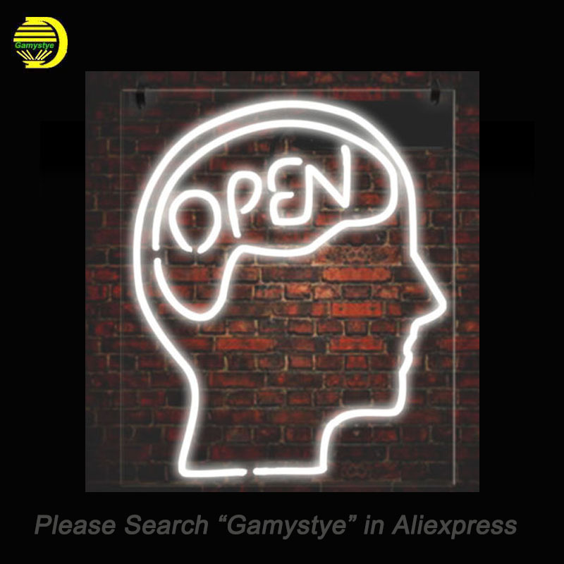 New Open Mind Neon Sign Glass Tube Head Shape Business signs Clear Board lights Neon Bulb Sign lighted Lamp ARTWORK Handcraft internet cafe open with coffee cup neon sign neon light sign glass tube arcade neon signs for bar neon handcrafted bar 17x14 vd