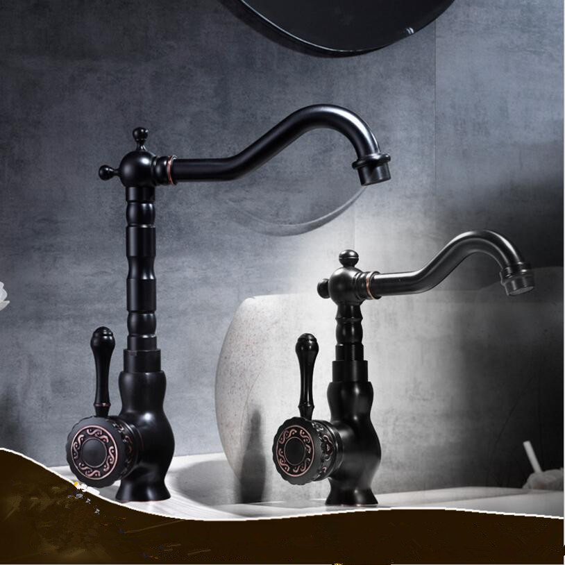 цена на Basin Faucets Black Bathroom Sink Mixer Deck Mounted Single Handle Single Hole Bathroom Faucet Brass Hot and Cold kitchen faucet
