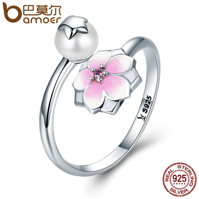 BAMOER 100% 925 Sterling Silver Magnolia Bloom, Pale Cerise Enamel Open Finger R