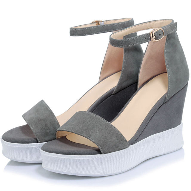 Shoes For Women Leatherette Wedge Heel Wedges Heels Casual Brown Pink Gray